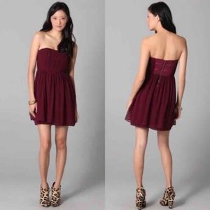 Alice & Olivia McKell Wine Silk Strapless Dress